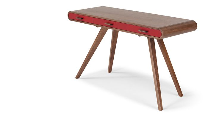Fonteyn Console Desk, Walnut and Red