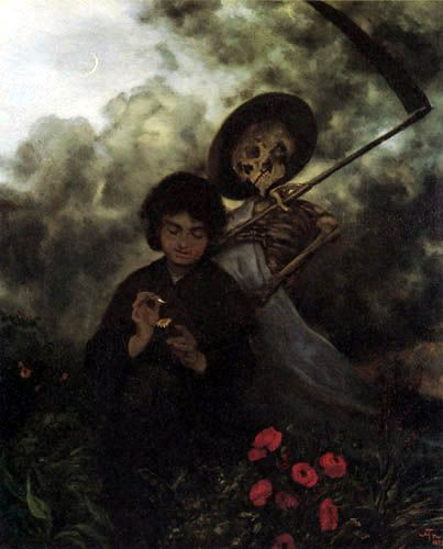 """""""Death and the Maiden""""  c.1872 by Hans Thoma (German; 1839-1924)"""