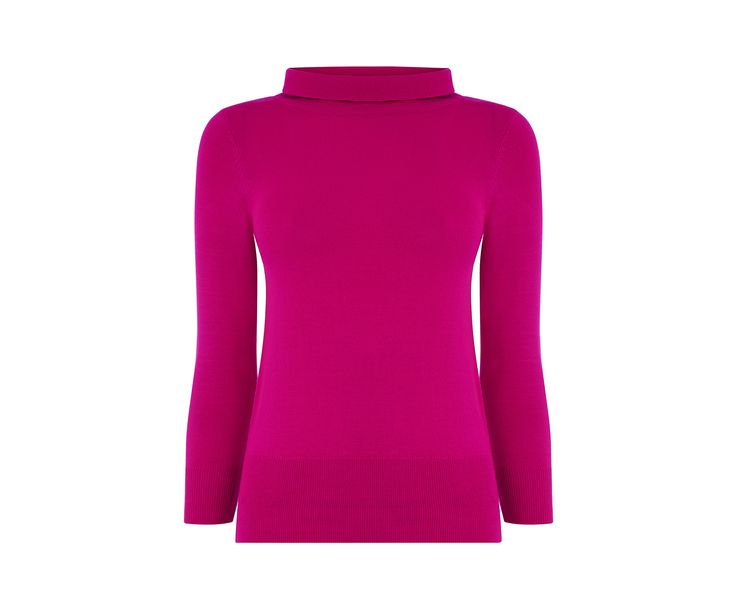 Oasis, STAND COLLAR KNIT Bright Pink