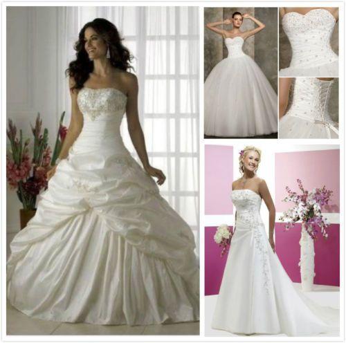 Weiß/Elfenbein Hochzeitskleid Brautkleider Ballkleid Lager Gr:32/34/36/38/40/42+