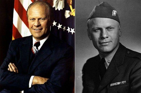 Gerald Ford-Navy-1942-46-WW2-Lieutenant-served on USS Monterey. Earned 10 battle stars.