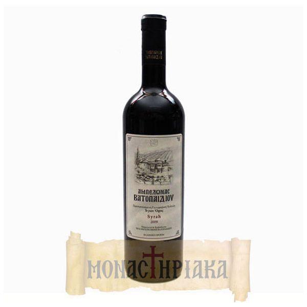 SYRAH Ι.Μ.Μ. ΒΑΤΟΠΑΙΔΙΟΥ  Μοναστηριακός μονοποικιλιακός οίνος Syrah από τον αμπελώνα της Ι. Μ. Μ. Βατοπαιδίου στο Άγιο Όρος. Το κρασί αυτό δαμάστηκε συν Θεώ, για 12 μήνες με αβίαστη υπομονή σε δρύινα βαρέλια, στο κρασαριό (κελάρι) της μονής πριν μπει στις γυάλινες φιάλες .  Βρείτε το εδώ :  http://www.monastiriaka.gr/syrah-vatopaidiou-p-809.html