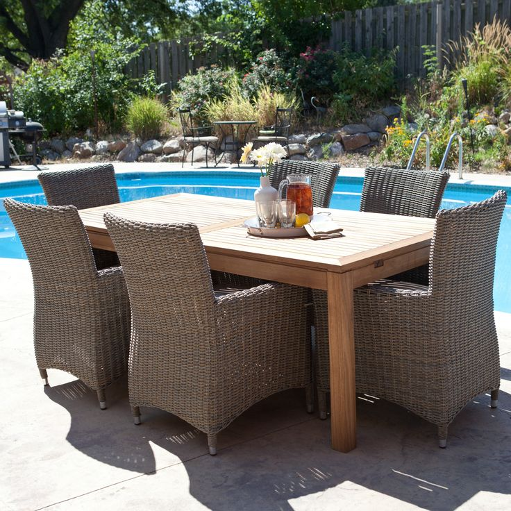 Whitman Extension Patio Dining Set With All Weather Wicker Chairs