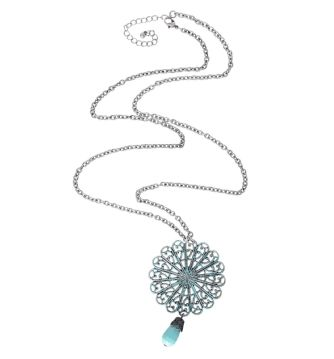 filigree cutout pendant necklace - in turquoise - from rickis.com #casualstyle #weekendstyle #turquoise #statement #longnecklace