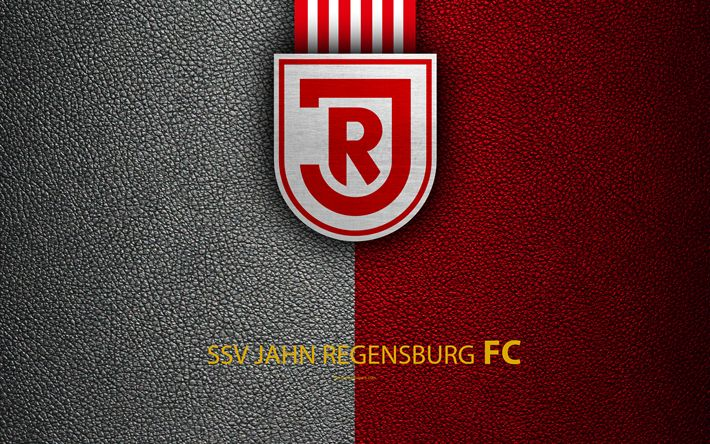 Download wallpapers SSV Jahn Regensburg FC, 4K, leather texture, German football club, logo, Regensburg, Germany, Bundesliga 2, second division, football