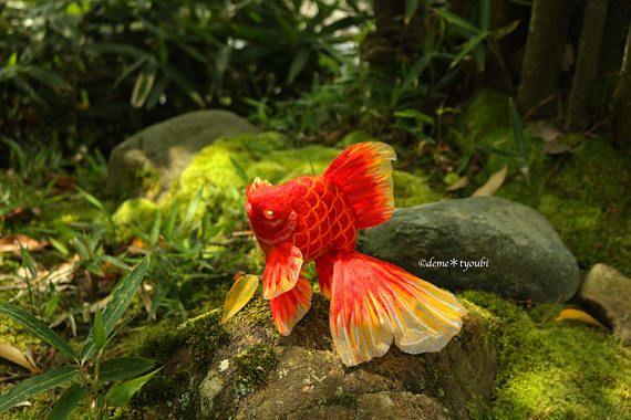 Needle felted goldfishRed ryukin