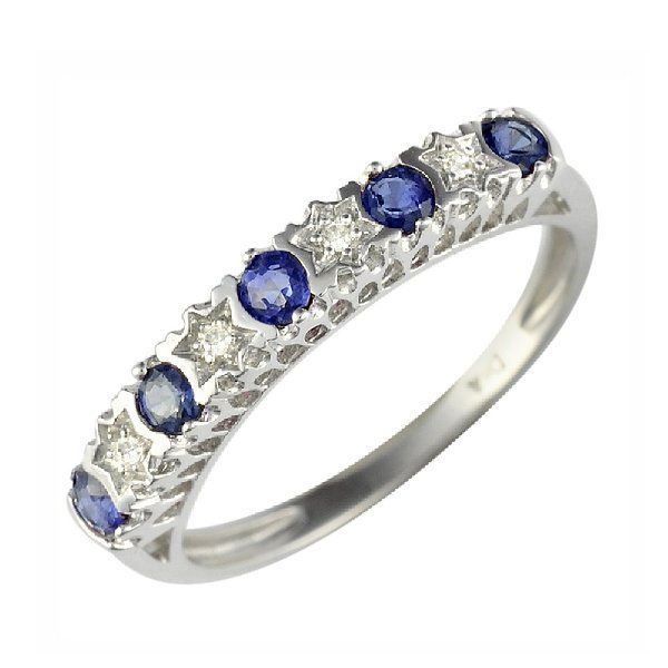 Ivy Gems 9ct White Gold Light Blue Sapphire and Diamond Stars Half Eternity Ring - Size P