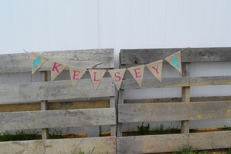 Personalize Burlap Bunting Banner- Nautical Nursery Decor- Bedroom Decor- Seahorses- New Baby- Shower Decor- Photo Prop by OliviasSweetLullaby on Etsy