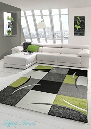 Designer Living Room Rug Contemporary Low Pile Carpet With Contour Cut Diamond Pattern