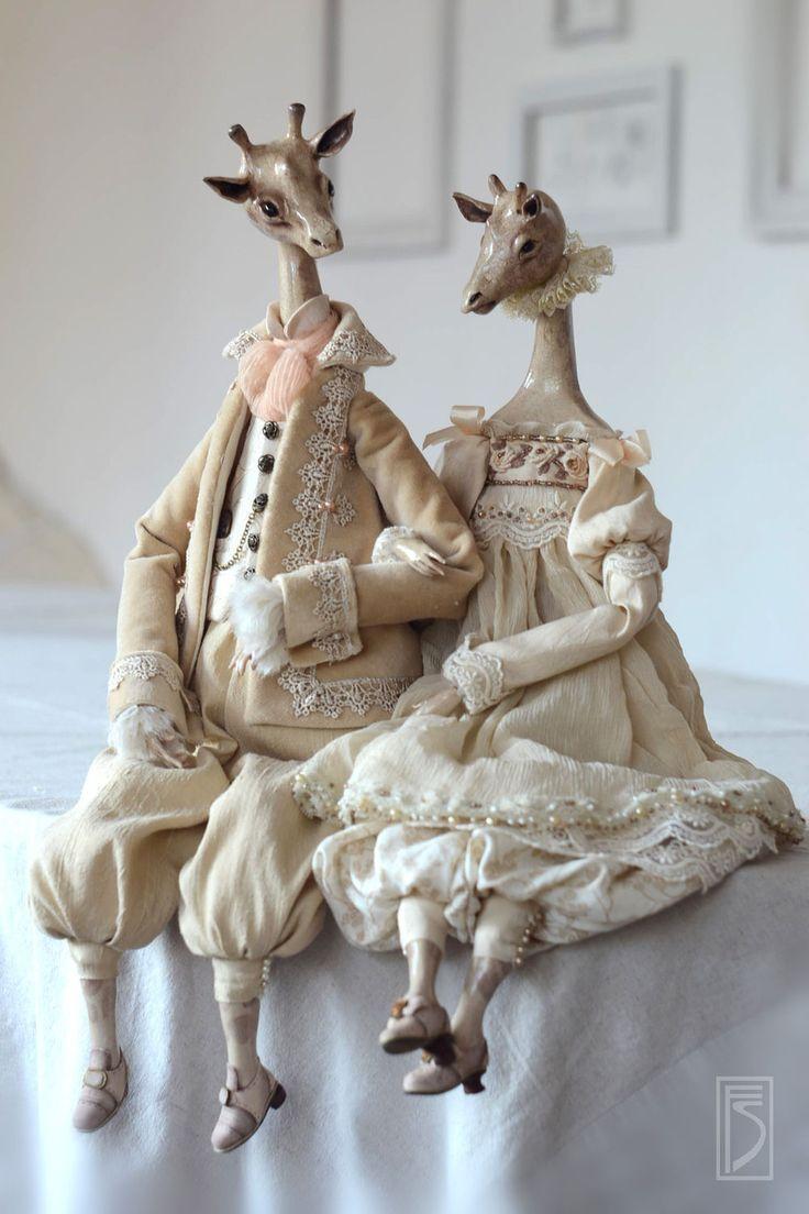 Giraffes art dolls