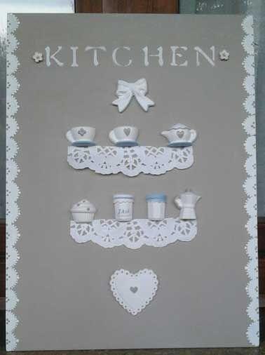 canvas con gessetti per cucina