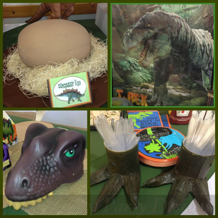 Set up for Dinosaur themed birthday party! Party hat; dinosaur egg; t-Rex foot utensil holders; and dessert table backdrop! By Distinctive Party Designs.