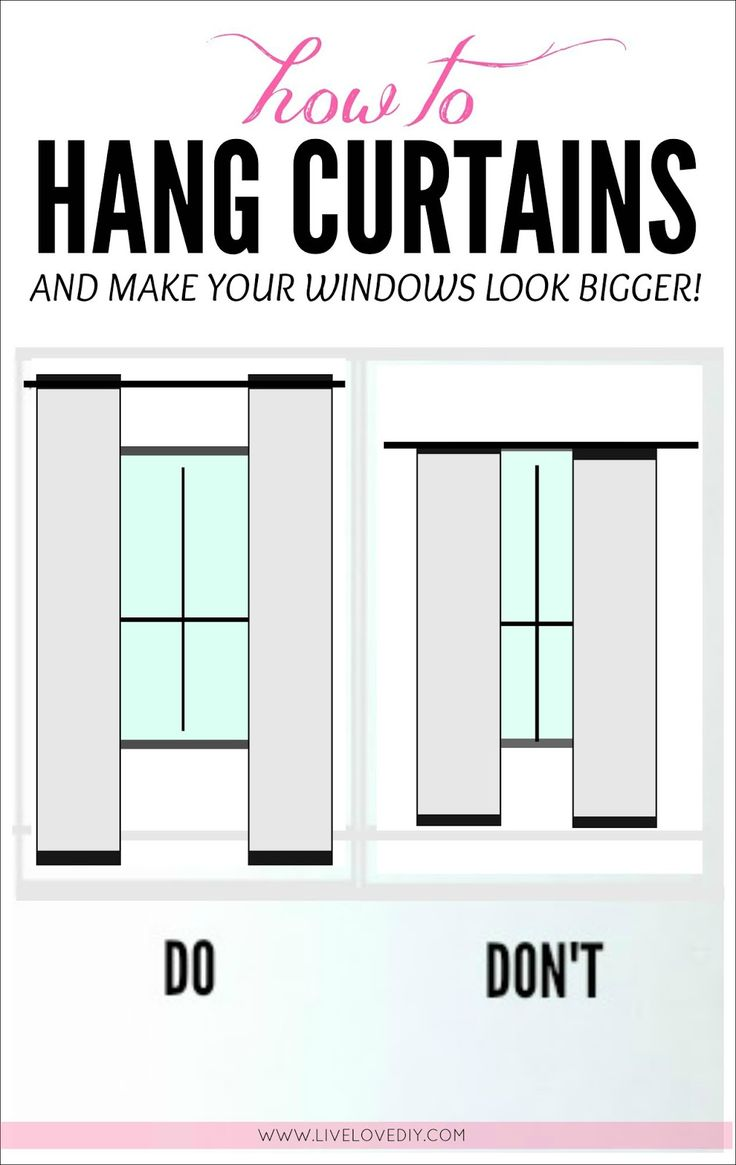 how to hang curtains to make any window look bigger great tips in this post including diy. Black Bedroom Furniture Sets. Home Design Ideas