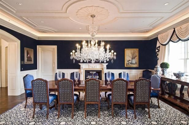 1000 images about dining rooms on pinterest mansions for Dining room navy blue