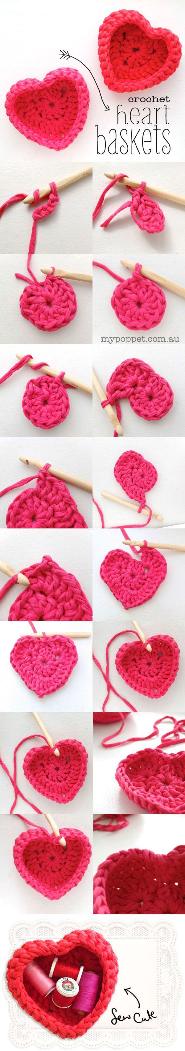 Make a cute crochet heart shaped basket from zpagetti yarn or upcycled tshirt yarn - a fun valentine craft project ✿Teresa Restegui http://www.pinterest.com/teretegui/✿