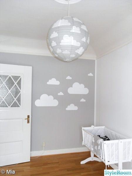 moln,fondvägg,vagga,lampa,barnrum