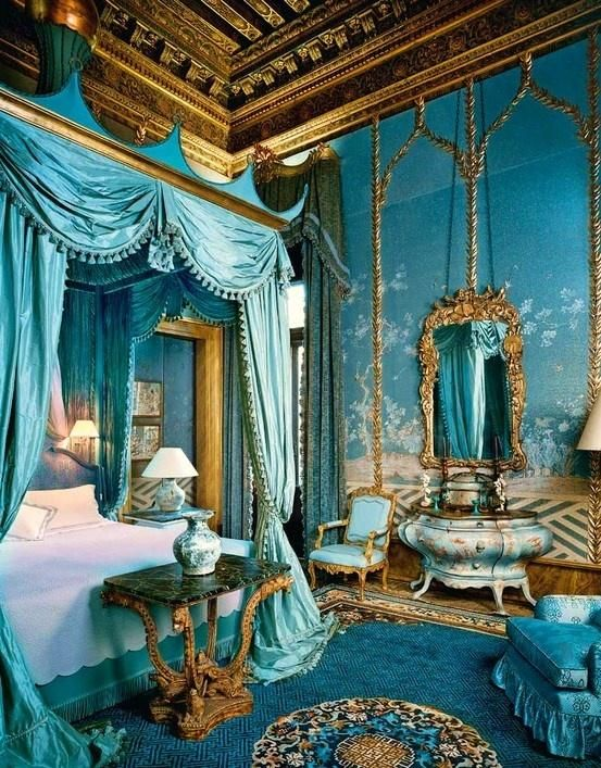 Light blue & gold royal princess theme bedroom for teens & young adults.