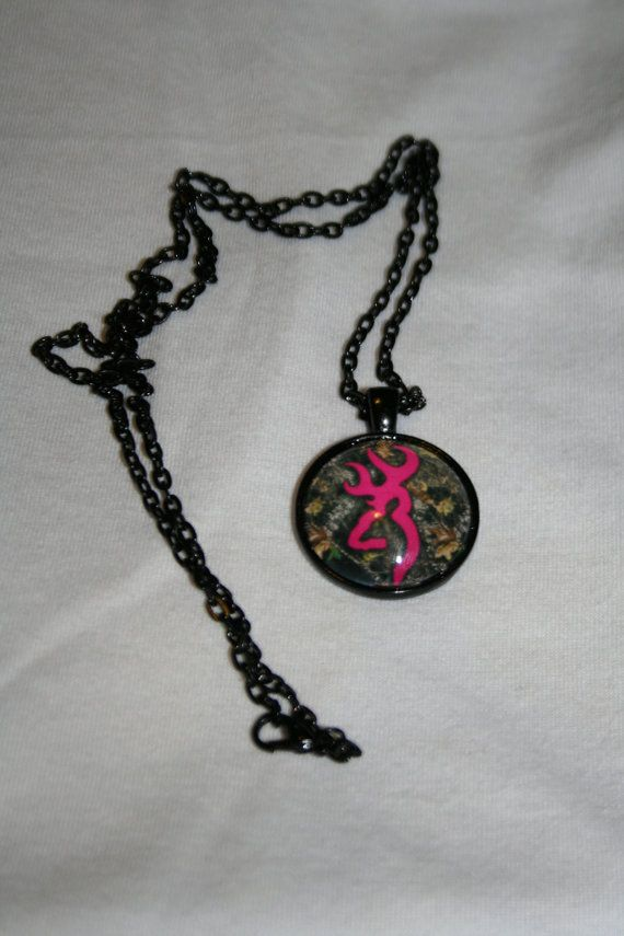 Pink Browning Buck with Camo Necklace by 0DownSouthJewelry0, $15.00