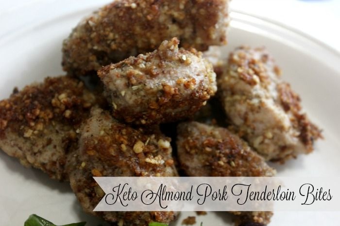 Keto Almond Pork Tenderloin Bites are perfect for dinner and the leftovers are great for packing in tomorrow's school lunch.