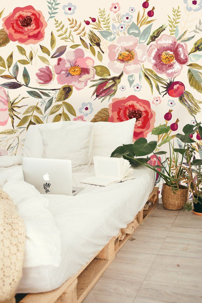 Removable Wallpaper Vintage Berries And Flowers Peel Stick Etsy Retro Living Rooms Peel And Stick Wallpaper Wallpaper Bedroom