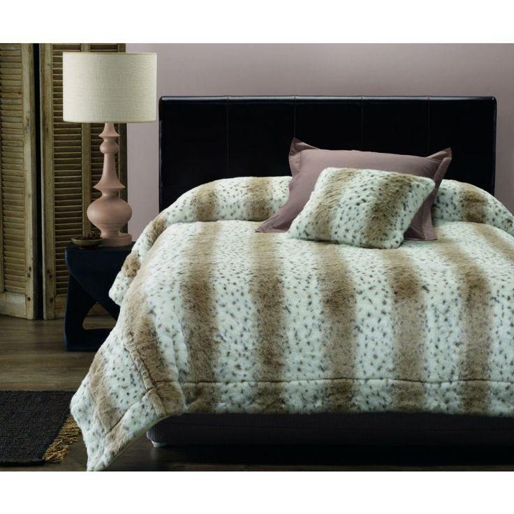 Lux Snow Leopard Faux Fur Coverlet
