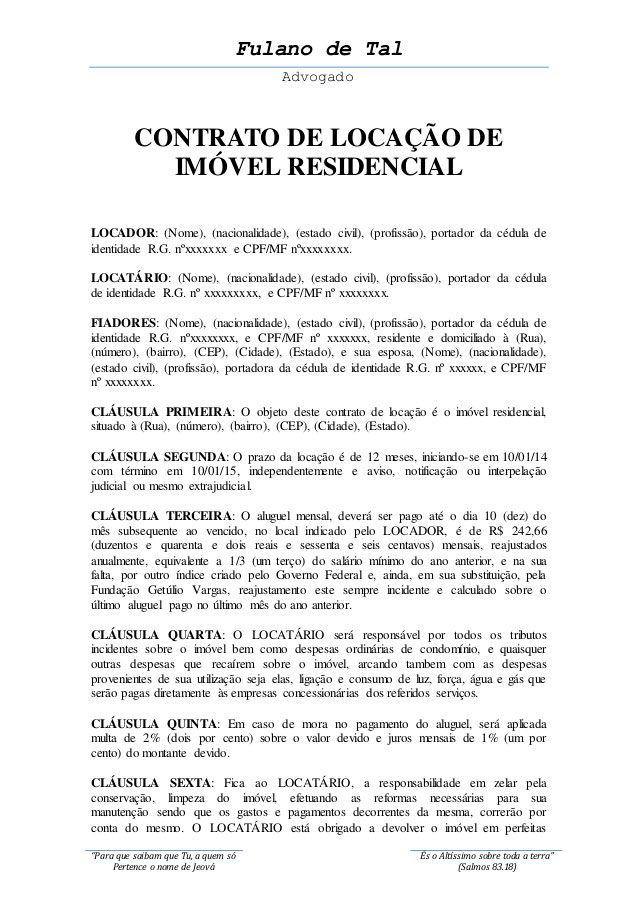 Modelo De Contrato De Aluguel Residencial Para Imprimir
