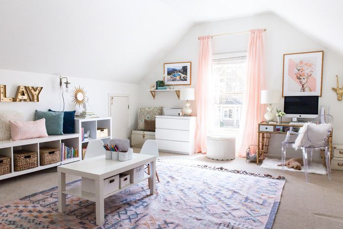 Paint Color: Sherwin Williams Alabaster | Mallory Fitzsimmons of Style Your Senses designs a functional and elegant office space and kids playroom in a room with pitched walls.