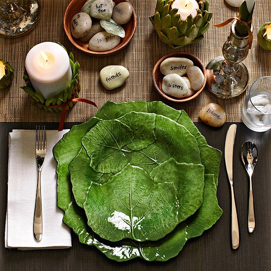 """""""Try this natural table setting theme at your upcoming holiday gathering."""" I like the artichoke as a candle holder"""