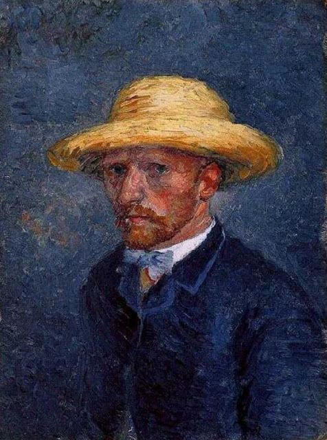 ART & ARTISTS: Vincent van Gogh self-portraits-1887 Self-Portrait with Straw Hat oil on pasteboard 19 x 14 cm