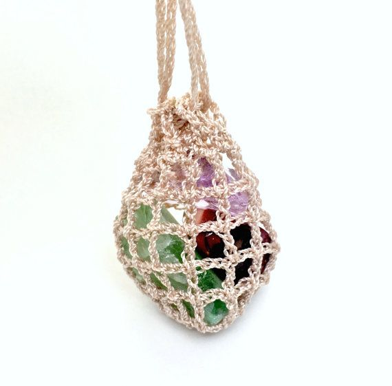 Crochet Pouch Necklace by ChrizzaStones. Getting creative on ways to keep crystals on you throughout the day. Available in light beige, black and copper color