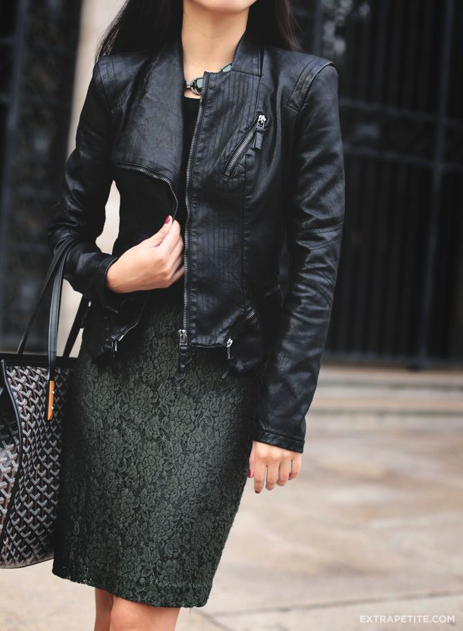 ExtraPetite.com - BlankNYC faux leather jacket and olive lace skirt