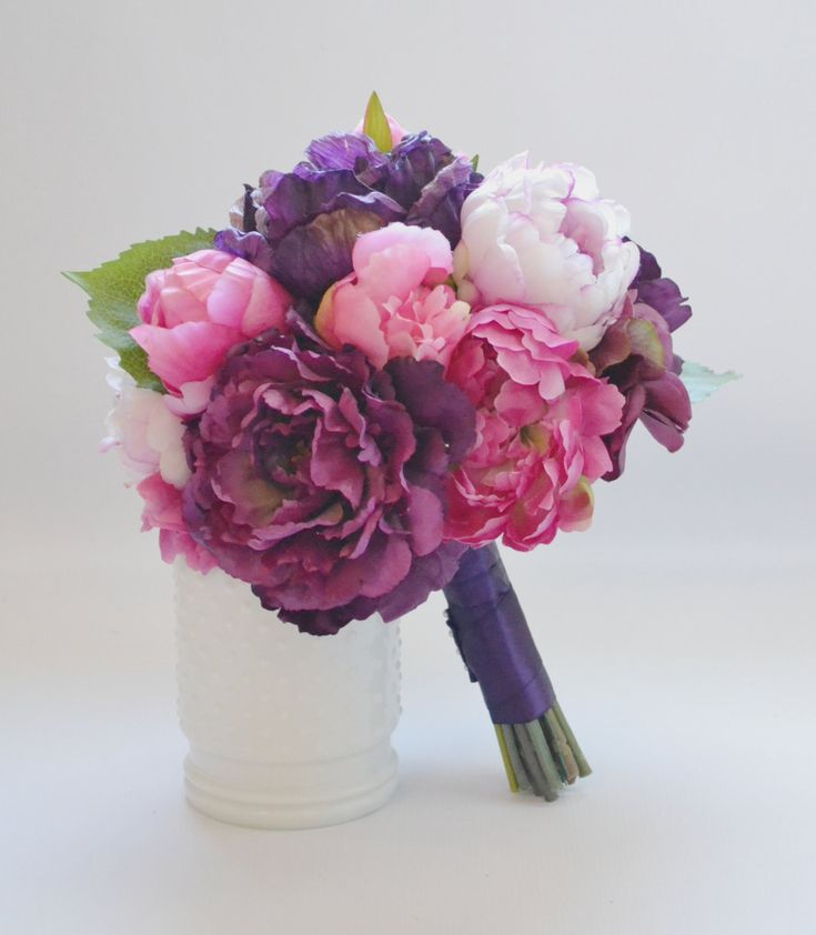 Peony Bouquet in Shades of Fuchsia, Purple, Eggplant, and Pink! BlueOrchidCreations.etsy.com  <<IN STOCK>>