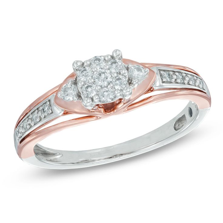 Zales 1/10 CT. T.w. Diamond Marquise Frame Heart Sides Promise Ring in Sterling Silver and 18K Gold Plate zm6tNi6mc