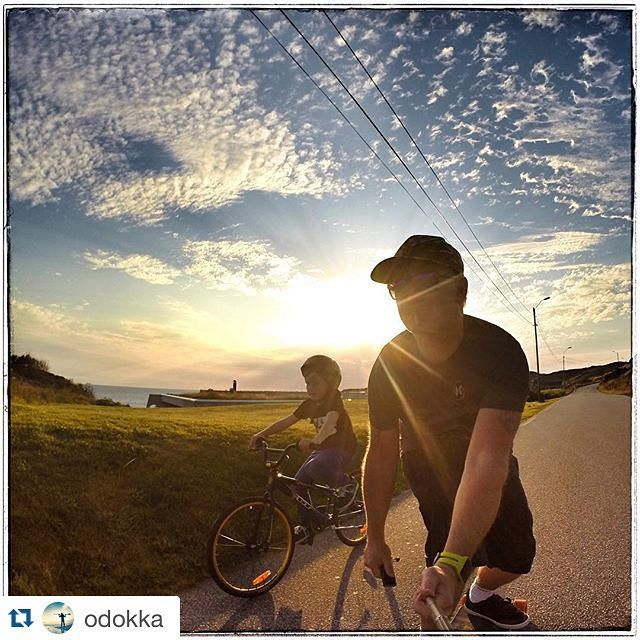 Awesome picture submitted to our #mysummer in #regionstavanger2015 Instagram photo contest by @odokka. Father and son going to the beach in the sunset #kids #love #skate #spotcheck #bikes #gopro #xsories #beach #sunset #westcoast #summer #aftenbladet #jæren #RegionStavanger2015 @regionstavanger #visitnorway #fjordnorway by regionstavanger