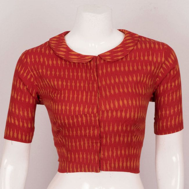 695b7e25b6e882 Hand Crafted Ikat Cotton Blouse With Collar Neck - Size 38 10022964 - front  - AVISHYA.COM