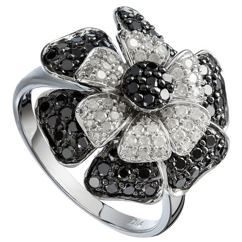 Sterling Silver White  Black Diamond Flower Cocktail Ring only $464 - purejewels.com.au