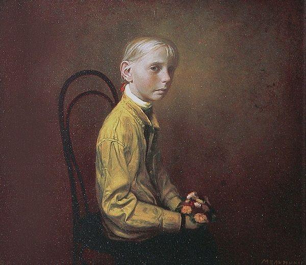"""""""Yellow Shirt"""" by Igor Melnikov, 2003. // son las búsquedas por emular a través de retratos, estos brincos de las emociones humanas que viajan a través de una iconografía de la fragilidad. // arte contemporáneo, pintura, contemporary art, artwork, oil painting."""