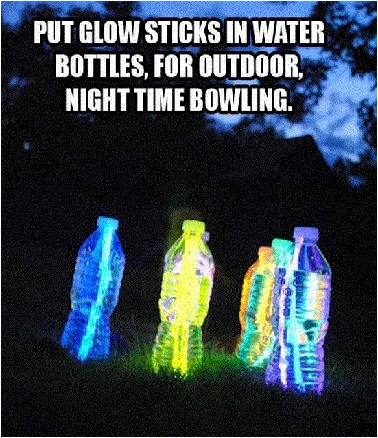 Glow stick bowling ~ The Kids will LOVE this. :)