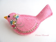 Pink Embroidered Felt Birds in time for Spring