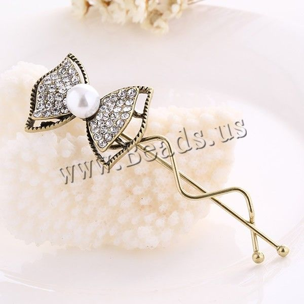 aleación de zinc Pinza de Banana, Lazo, chapado en color dorado antiguo, con perlas de cristal & con diamantes de imitación, libre de níquel
