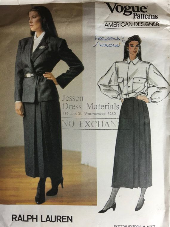 Vintage Vogue 1477 Ralph Lauren Sewing Pattern Jacket, Skirt, and Blouse Size 10 Bust 32-1/2 shoulder pads 1980s structured style weseatree Etsy