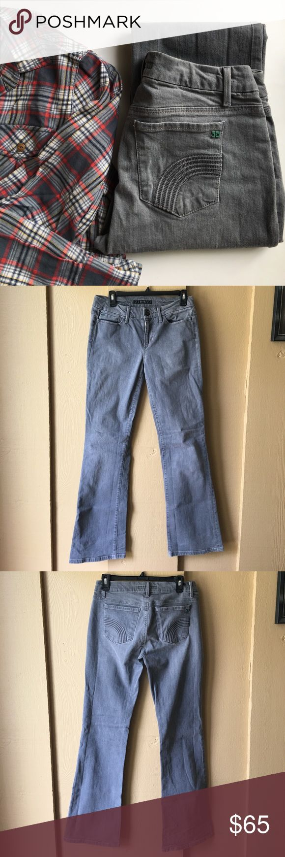 """Joe's Jeans muse bootcut jeans Joe's muse bootcut jeans. Size 29. Excellent condition. Medium gray wash is called """"Angelica"""". Cute detail on back pockets. Inseam is approx 33 inches. Waist measures approx 15 inches across. 98% cotton, 2% elastane. Joe's Jeans Jeans Boot Cut"""