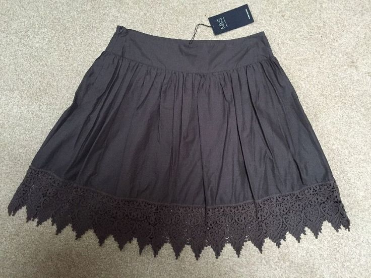 M&S Collection PURE COTTON Summer Lined SKIRT BNWT UK12 Embroidered Lace hem