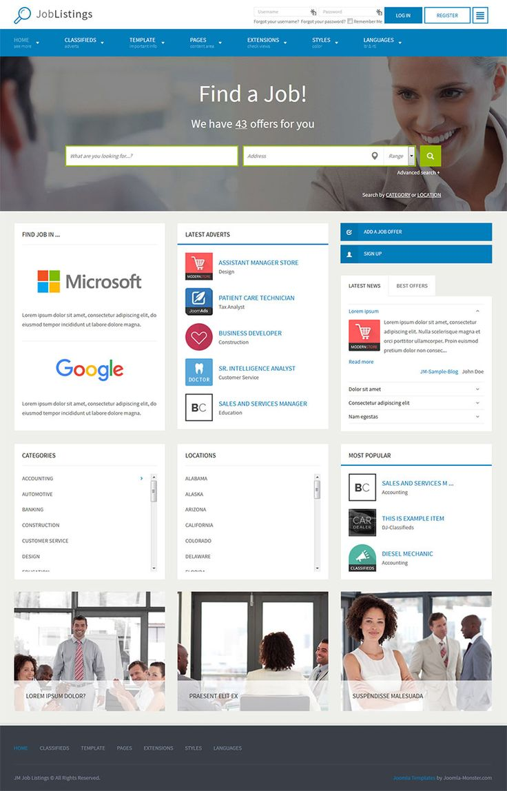 200 best templates for joomla 3x images on pinterest jm job listings this template provides you a complete solution to run a job listings website local classifieds or business directory cheaphphosting Image collections