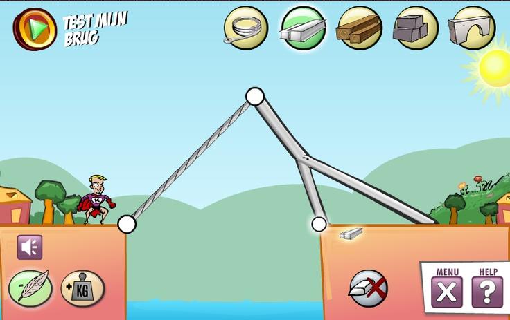 Spel voor het maken van bruggen met verschillende materialen en constructies. (v/d site van Nemo)