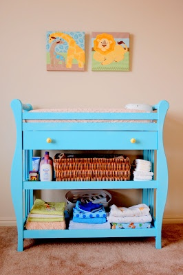 painted changing table, do I dare paint the boys' one?!