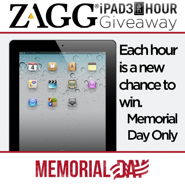 ZAGG is giving away an iPad each hour during Memorial Day
