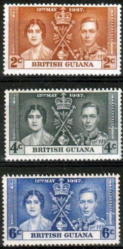 British Guiana 1937 King George VI Coronation Set Fine Mint SG 305 7 Scott 227 9 Other British Guiana Stamps HERE