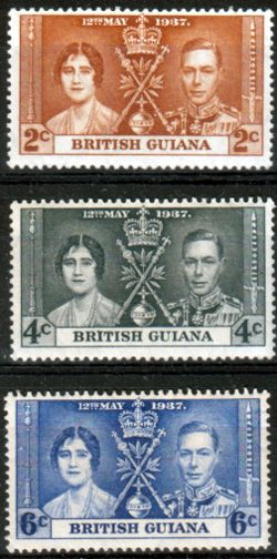 British Guiana 1937 King George VI Coronation Set Fine Mint SG 305 7 Scott 227 9 Other British Guiana Stamps HERE