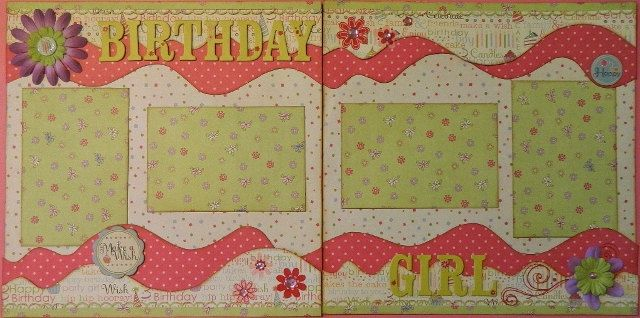 Birthday Girl - 12x12 Premade 2 Page Scrapbook Layout. $15.95, via Etsy.